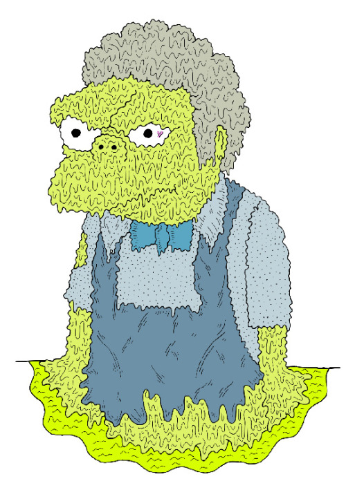 samtaylorillustrator:  Moe is probably my favorite Simpsons character so it's a shame to see him die like this.
