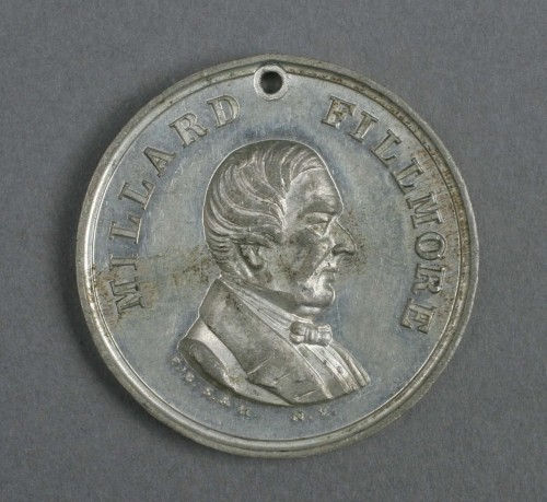 "Know-Nothing Party This campaign medallion from the 1856 presidential election is a predecessor to the candidate bumper sticker. The small hole punched  at the top would have allowed a person to sew the medallion to a jacket  or coat, or string it on a chain. Pictured in the center of the  medallion is former President Millard Fillmore.  Fillmore was nominated by the  American Party, also known as the ""Know-Nothing"" Party, as their  Presidential candidate. The Know-Nothing party was staunchly  anti-immigrant and Protestant, and feared the large number of German and  Irish Catholics who were coming into the United States at the time. This medallion is one of many campaign-related objects from the Truman Library.  When it first opened in 1957, President Truman wanted the Library to become a  general center for the study of the presidency, not just focused on him. As a result, the Library actively sought out presidential-related objects to  collect.  The Library will be featuring more campaign history throughout this 2012 election year.   -More at the Truman Library"