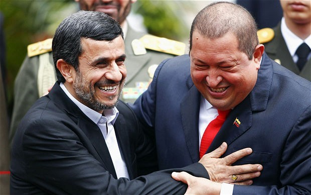 "phenthouse:  Iran's President Mahmoud Ahmadinejad and Venezuela's Hugo Chavez joke about having ""a big atomic bomb."" Oh yeah…cause these guys are known for their comedic stylings.  Yeah, we are going to explode with laughter:"