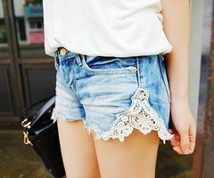 Easy Denim Shorts Upgrade Just cut your denim shorts at the outer seams and add in the lace!
