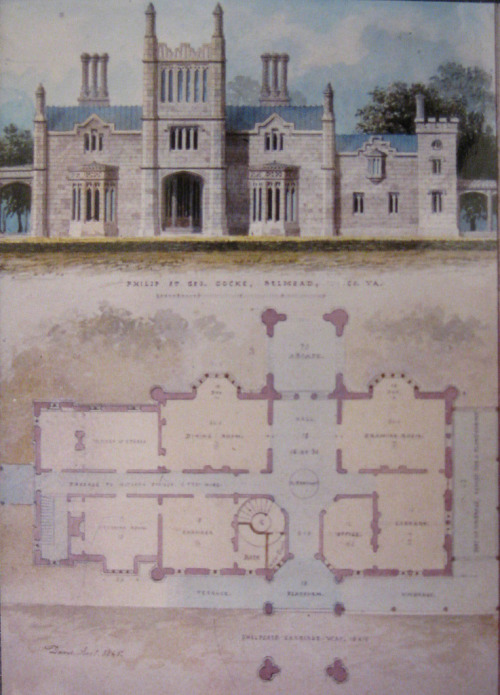 From the archives, a drawing and floor plan of Belmead-on-the-James.  This site was recently named one of the National Trust for Historic Preservation's 11 Most Endangered Sites