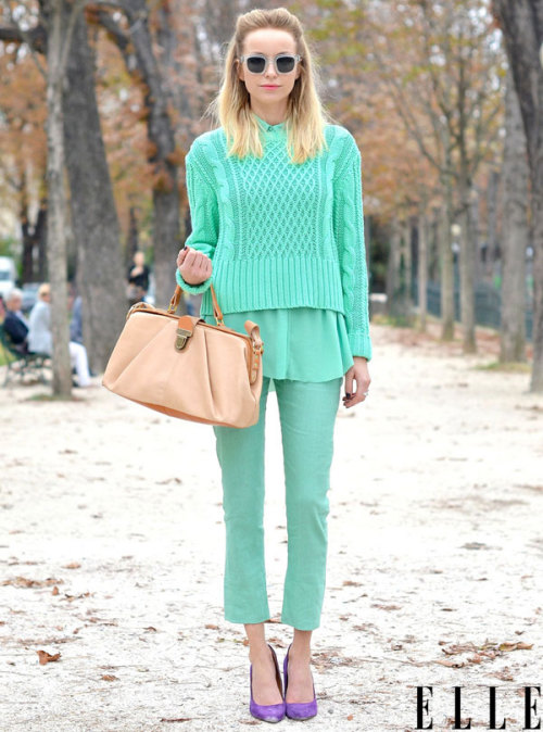 elle:  Street Chic: Paris No need to wait till spring to rock the pastel trend! Photo: Courtney D'Alesio