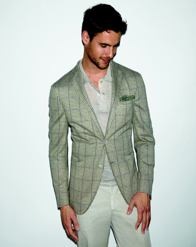 "Boglioli nails it with this light green and blue windowpane blazer. ""In every Boglioli jacket there is a piece of us. We work with enthusiasm and curiosity, and incorporate this into all of our products. We are always playing and exploring. When the market calls for something, chances are we already have it. Apart from the unique and precious fabrics used in each garment, the feel and fit is what truly separates us from our competitors. The Boglioli style is never forced and will always be current… suitable for every occasion."" - Boglioli"