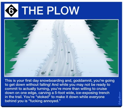 collegehumor:  What Your Ski Tracks Say About You  [click for more]   this couldn't be more true.I swear I've seen them all.