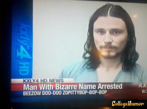Man with Bizarre Name Arrested Well this is absolutely greatest name we have ever seen. Bonus points because it's on a mugshot.