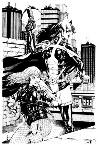 thehappysorceress:  Because every day needs more Helena & Dinah. Black Canary & Huntress by Robert Q. Atkins