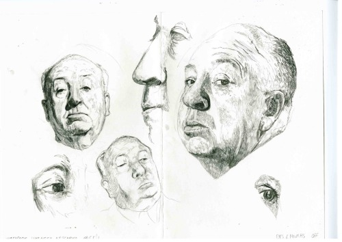 Alfred Hitchcock - Sketches of likeness.  One of my uni projects this term is to do a series of book jackets for biographies/books about film directors. I want to produce a minimum of 3, at the moment looking at Hitchcock, then hope to be able to do others for Cronenberg, the Coen brothers, etc. There are a whole list of names I'd like to get through, but I always set myself too much to do, so I'm trying to be realistic this time round. I wanted to link my projects this time, as last Unit saw 2 wildly different projects (monoprint extracts and a disappointing colour graphic novel which didn't turn out how I wanted), and the tutors think I need a bit more consistency within my projects. So, as I'm hoping to do the D&AD Little White Lies project, I thought of doing another film related project, which could then be applied to book jackets/point of sale posters. They'd be portrait based, but then have images from the films within the faces… kind of like how my Tinker Tailor Soldier Spy has Gary Oldman's face with other characters within it. Quite hard to explain what I mean, but I have an idea in my head. Need to get cracking really. Anyway, this page is just some drawings trying to get the likeness right before I begin painting, but as usual, eyes/noses/mouths/basically everything is all a bit off. D'oh. Back to the drawing board.