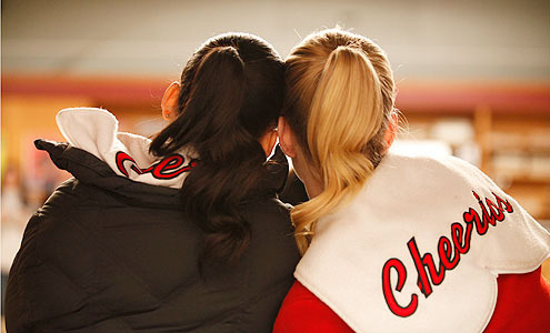 fyeahgleecast:  Naya Rivera (Santana) and Heather Morris (Brittany) share a moment.