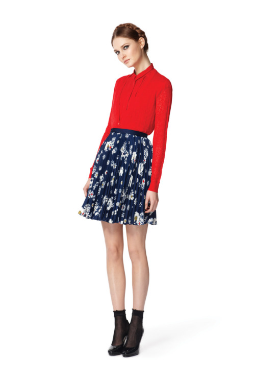 glamour:  Jason Wu for Target is on, y'all. Pointelle sweater, $39.99, Pleated blouse, $26.99, Pleated floral skirt, $29.99. Photo: Courtesy