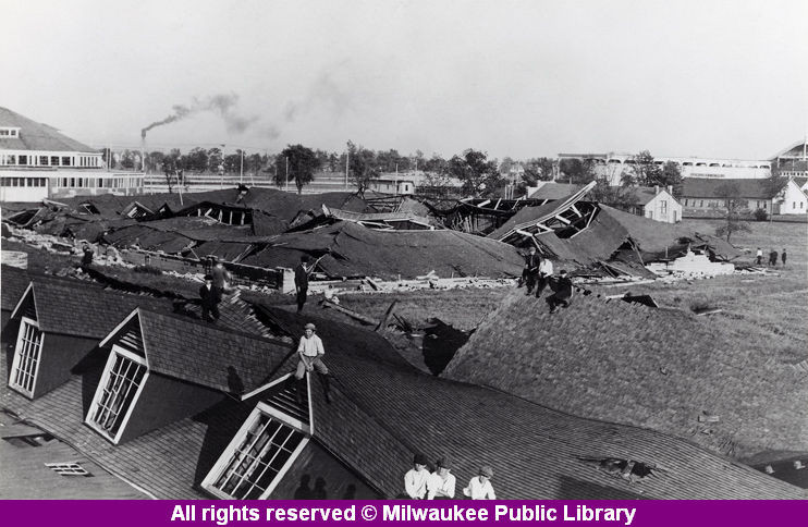 Aftermath of tornado at State Fair Park, Milwaukee, 1914. Early images of tornadoes in action are rare; most period photographs highlight the damaged buildings the storms leave behind. In 1980, the Milwaukee Journal recalled a tornado that struck the city decades earlier:  It was the buildings, rather than the animals and exhibits displayed within them that attracted attention at State Fair Park on May 31, 1914. A tornado swept through the park on that Sunday afternoon and demolished a number of structures. After the storm, children climbed over the ruins and perched on the roof of the cattle barn.  via: Remember When collection, Milwaukee Public Library