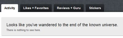 "Nice! #GetGlue screen for no user activity. ""the end of the known universe"" (Taken with picplz.)"