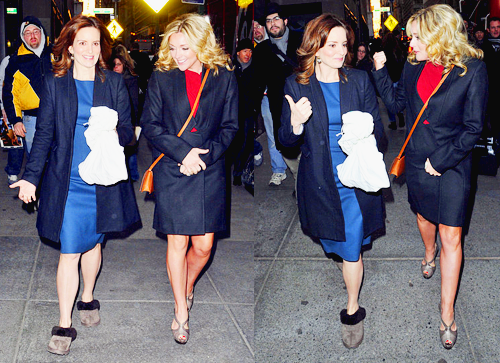 Tina Fey and Jane Krakowski walking together as they head to 'The Today Show' in New York City.