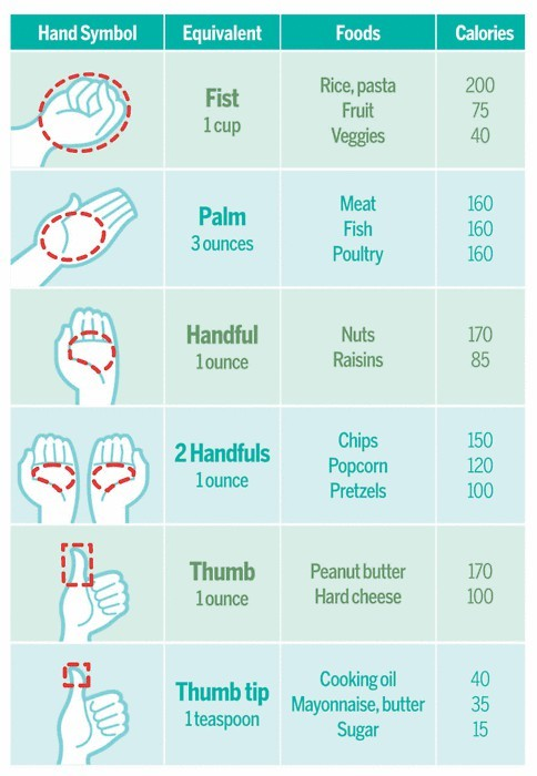 here's a handy (har har har) guide to hep you with portions.
