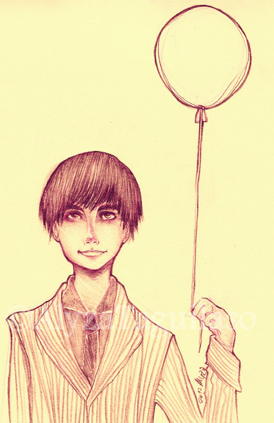 Balloon, 2012 Pencil —-  My friend Migu gave me a sketchpad for my birthday and I ended up drawing something that looks like what he wore for his birthday.