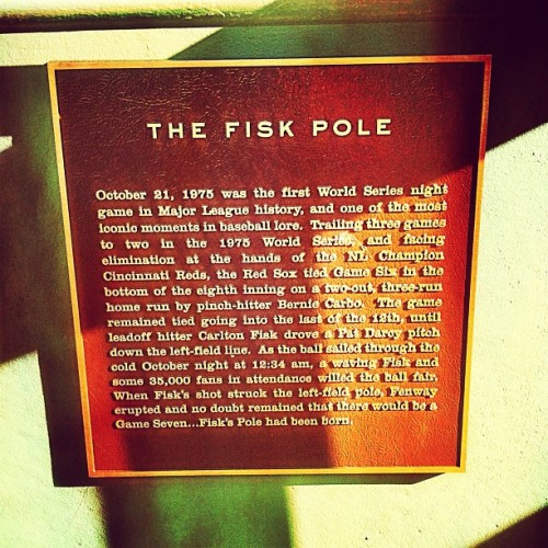 Fisk's pole plaque #fenway #fenwaypark #redsox #bostonredsox #sox #baseball #boston (Taken with Instagram at Fenway Park)