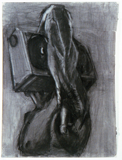 "Untitled 1983 charcoal on paper 40"" x 60"" I made this while in grad school at CalArts.  It was boen out of frustration, mostly. Sexual of course, but also I was wrestling with the problems of how to make work that was identifiably ""gay"" and yet made sense to me as being about something else. I was trying to pack way too much into each piece, and CalArts was not the right school for anyone who was over thinking every last thing they were making.  It was quite some time before I could figure out a way of adressing all of the aspects of my personal experience. I still think armpits are hot, however."