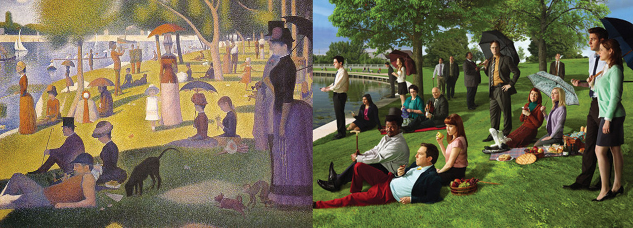 "The cast of The Office (US) reproduce George Seurat's ""A Sunday Afternoon on the Island of La Grande Jatte"" (1884).  This makes me so happy. I saw the original at the Art Institute in Chicago! Awesome museum."