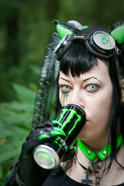 Cyber goth product placement.