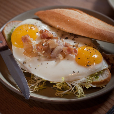 Fried egg sandwich at Boot and Shoe Service's new brunch (10am-2pm Sat & Sun), Oakland, CA.