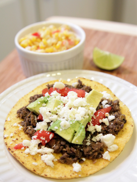 Lentil Tostadas and Mexicali corn