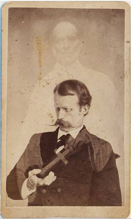 tuesday-johnson:  ca. 1860's, [carte de visite spirit portrait with Harry Gordon, first American medium credited with levitation], William Mumler via Photo_History, Flickr