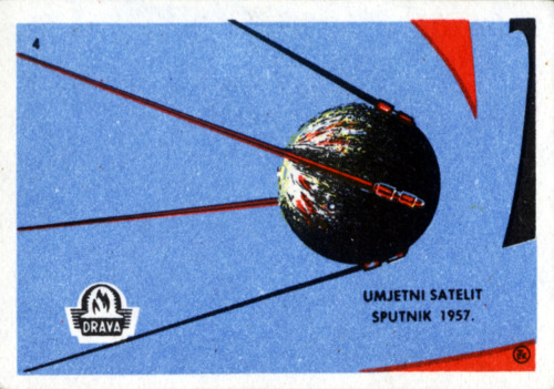 scanzen:   Umjetni Satelit Sputnik 1957. Yugoslavian matchbox label, space exploration, 4/10. c1960.