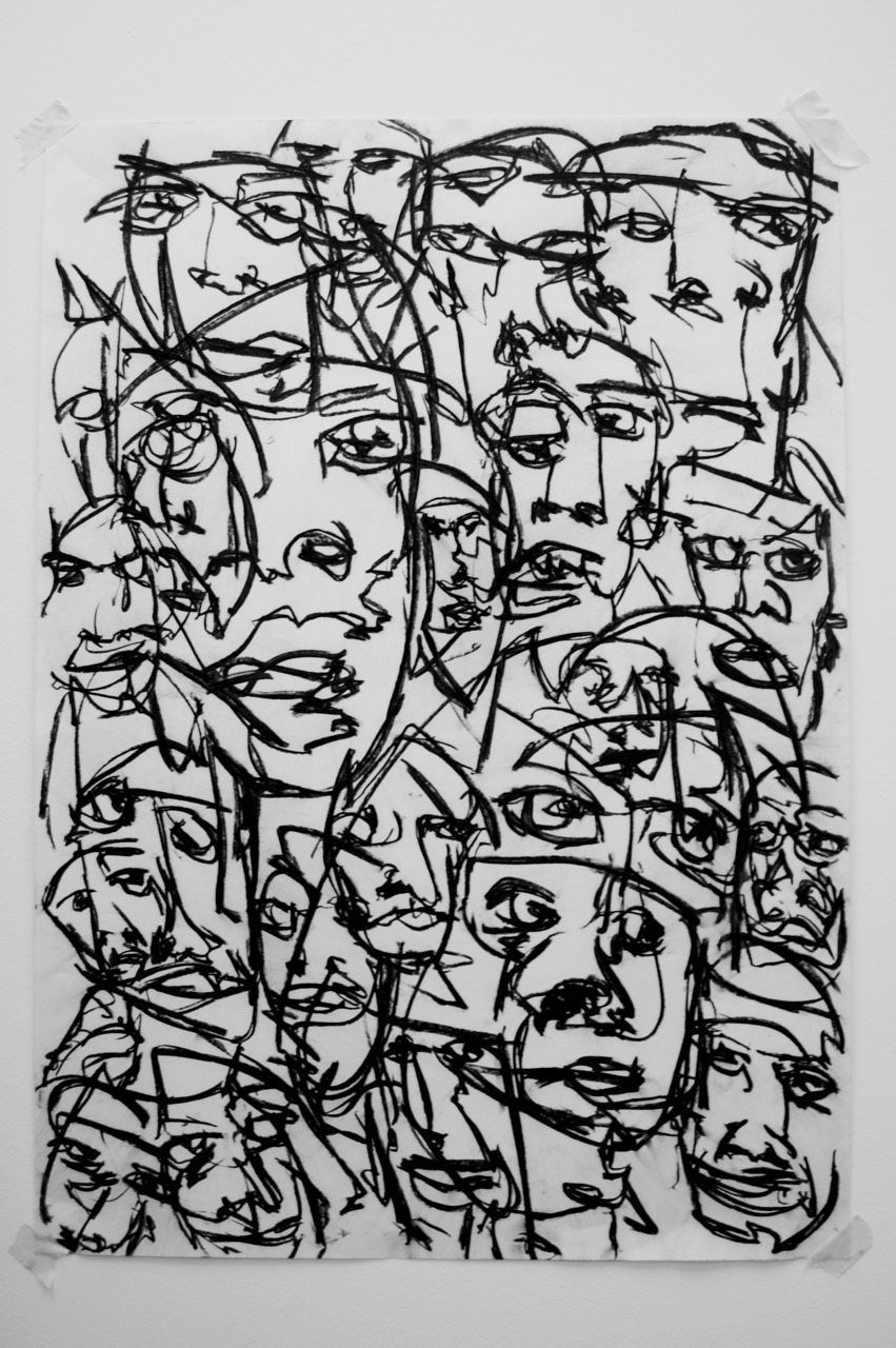 joehowlett:  Sea of faces III Charcoal on paper Joe Howlett original artwork 2011