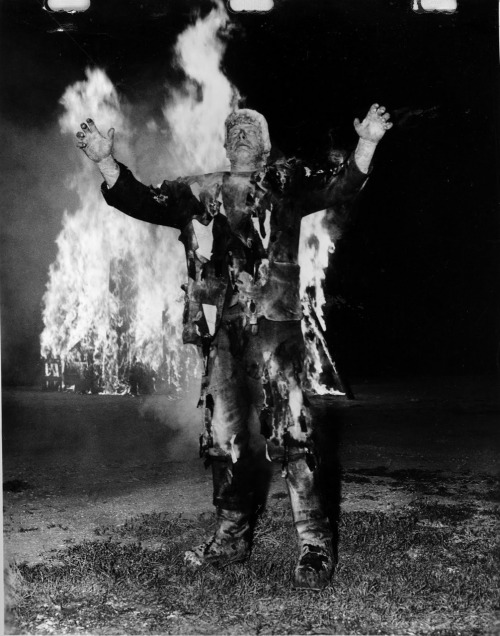 beautyandterrordance:  The Monster is on fire, in The Ghost of Frankenstein.
