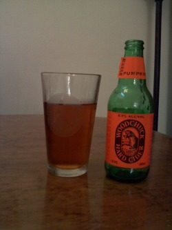 Brew: Woodchuck Hard Pumpkin CiderBrewer: Woodchuck Cidery, Middlebury, VTStyle: CiderABV: 6.9% So.  Woodchuck.  I am not impressed.  I am not blown away.  I am not overwhelmed.  I am simply… whelmed.  This cider is yucky. I bought like 20 different kinds of pumpkin brews a few days ago,  because if I'm going to have to endure the month of October, I'm going  to do it drunkenly and with pumpkin-flavored things.  I love Woodchuck's  other ciders, so when I saw that they'd made a very limited number of  barrels of a hard pumpkin cider, I danced a little jig and bought a  sixer. SO SAD!  It is just not good.  =(  It is, however, the first pumpkin cider EVER (according to this website,  anyway).  Upon discovering that information I became less opposed to  it.  I mean, the first incarnation of anything kinda sucks, right?   Eeesh. Okay here we go: Appearance:  Beautiful.  The brew has a darker, orangey tint to it that the normal ciders do not exhibit.  Smell:  Overly-sweet cider.  I don't pick up pumpkin. Taste:  …Overly-sweet cider.  I don't pick up pumpkin.  Eh.  In fact,  it leaves a syrupy sweet aftertaste/coating on the back of my tongue  that is just unpleasant. Mouthfeel:  I mean you know.  It's fine.  It's like any other cider's mouthfeel. Overall/Drinkability:  Okay well I have five more of these now sitting in my fridge.  Does someone want one? xo, Mary