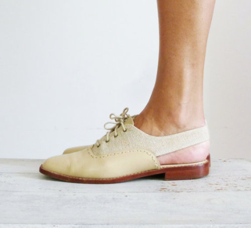Linen Slingback Oxfords on Etsy