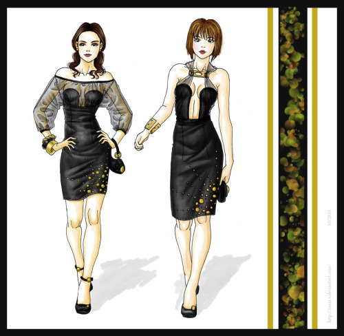 """Black and gold"" Some dresses i draw in 2010. I love dresses and if they are black, even better."