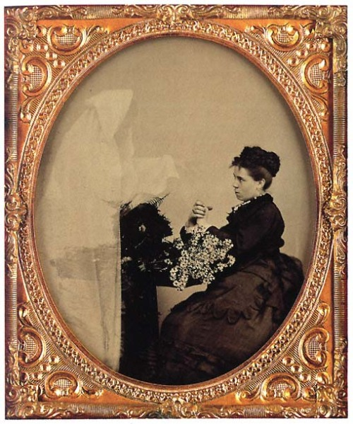 ca. 1850-60, [portrait of a lady with a spirit and daisies] via A Diamond Fell From the Sky, Flickr