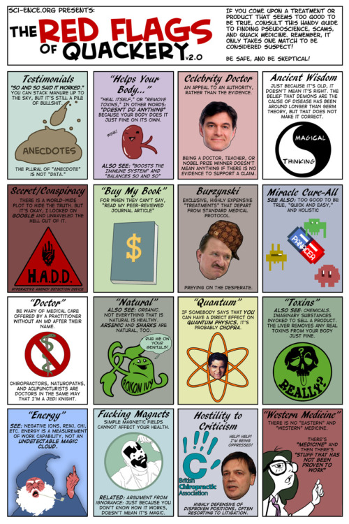 jtotheizzoe:  The Red Flags of Quackery v2.0 Don't make me raise the flag on you. (via sci-ence.org)