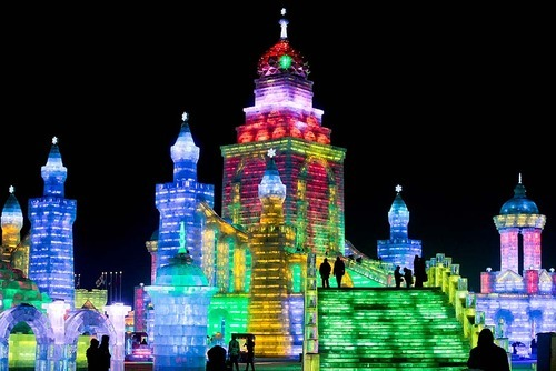 poptech:  The International Harbin Ice and Snow Festival is a three-month event held in Harbin, in China's northern Heilongjiang province, which opened Friday, January 5. Photo: Diego Azubel/EPA (via L.A. Times)