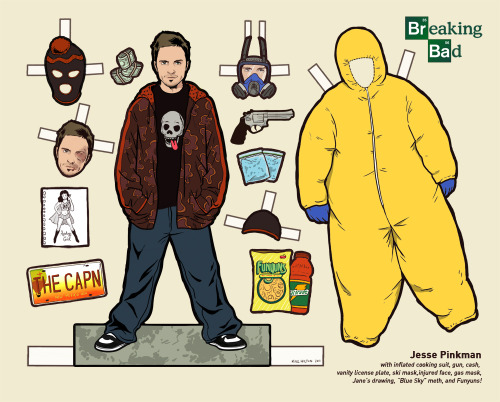 "flannelanimal:  Doll #26Jesse Pinkman, Breaking BadI posted a group photoset a few months back of the rest of these Breaking Bad dolls I did last year.  But I never posted them individually and linked them under the ""All Paper Dolls (So Far)"" tag.  So, anyway, short story long, the next 5 posts are those dolls.   Tomorrow's guest, as a paper doll."
