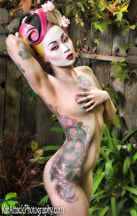 My favorite Geisha. Amelia Dinmore. MUA Randee Ratchet Latex Kimono by Dawnamatrix
