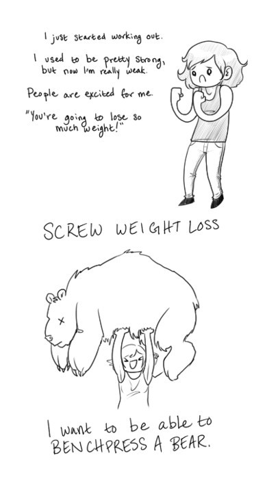 bench press a bear. heck yeah! (via Body positive / Thintimate-XOXO)