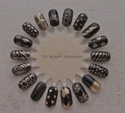 10blankcanvases:  Black and gold nail wheel