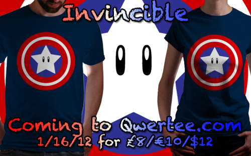 Hey guys! Coming up next week (1/16/12) at 11pm GMT, my shirt design, Invincible, will be up for a limited print at Qwertee.com for the low price of £8/€10/$12! Help me out by passing this along to any gamers or comic fans, or all-around nerdly types that may be interested in getting their hands on this shirt for an awesome price! I'll be pumping this info out again when the release date is closer, but consider this getting the word out early. Thanks everyone, and thanks all who helped vote it into creation! Anthony Pipitone