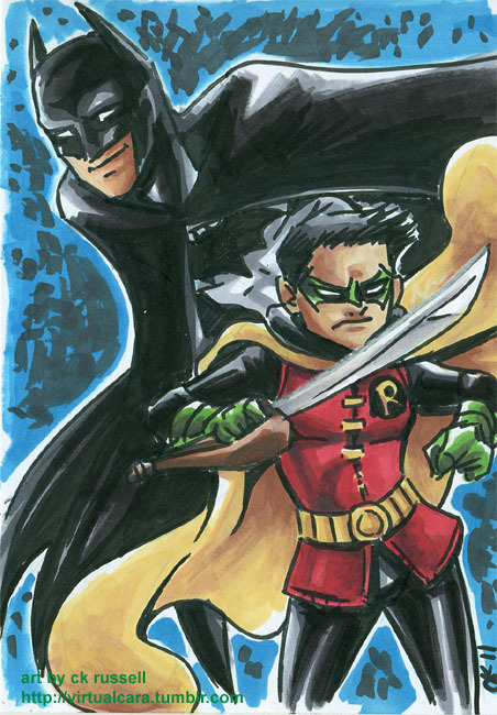 Batman & Robin! Gonna keep on pretending the Nu is crack fanfic of epic proportions and fill the void pre-Nu art. 5x7 brushpen and marker on cardstock. Want one of your own? Check out this post.