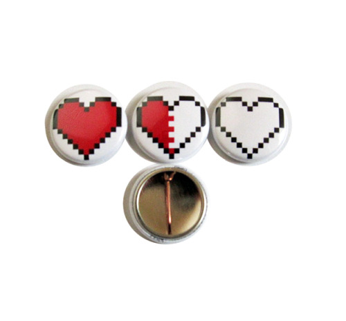 Pixel Heart Button Set - $4