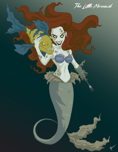 One of my favorite fan art drawings of Ariel… meet ZOMBIE ARIEL. I love the fork as a hand…