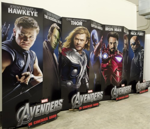The Avengers Theater Standees, coming soon to a theater near you.  Where. is. Loki. though?