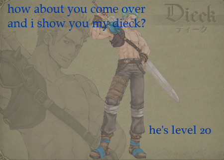 """how  about you come over and i show you my dieck? he's level 20"" Submitted by thelegendofzelda"