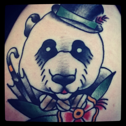 A Gentleman Panda.Done by Kevin Jarvis at Gypsy Kings in Novi, Michigan.