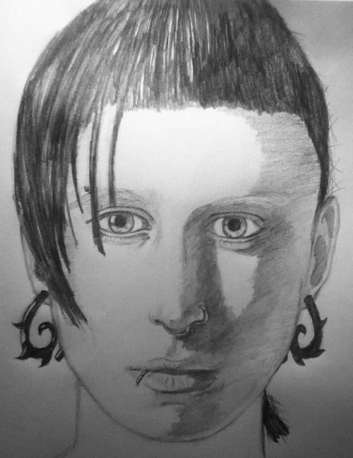 My drawing of Rooney Mara as Lisbeth Salander from The Girl with the Dragon Tattoo.