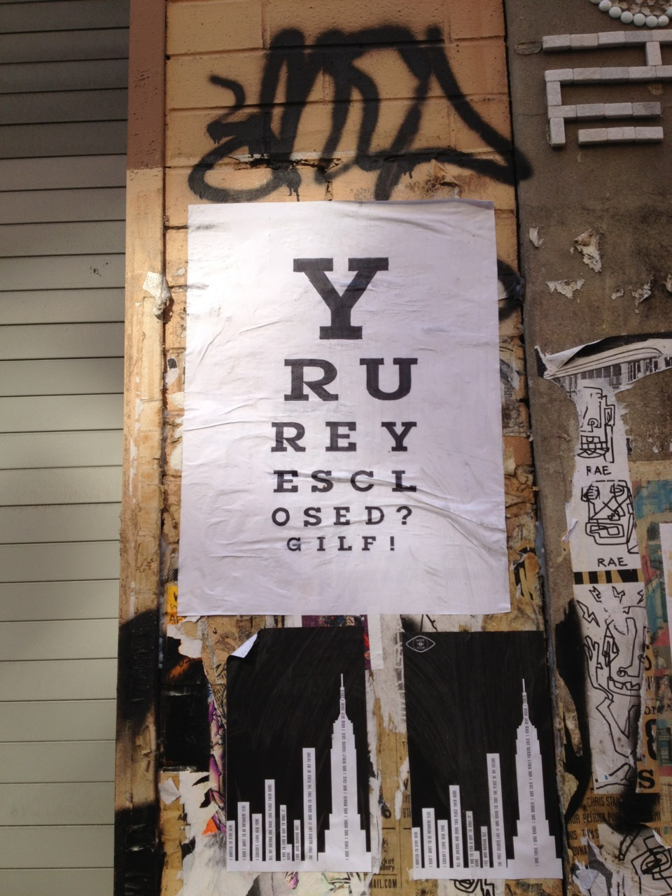 A new wheatpaste by female street artist Gilf has hit NY this week in numerous locations…