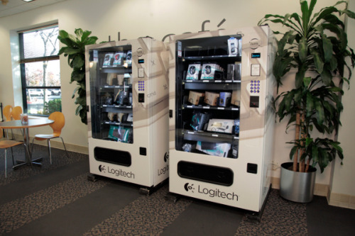 There are numerous new vending machines in the cafe of Logitech's work in Fremont, California, however this one don't advertise soda or snacks. Instead, they're filled with keyboards, headsets, notebook battery requirements along with gadgets people may need.