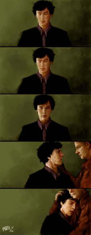 "marielikestodraw:  ""Mind Palace : Error."" Somehow, I think only John would be able to make it go away. Until it gets better.Sorry about the fluff. We know what's coming next week end, so I guess fluff is allowed, right? Painted on photoshop, with da wacom.Hope you like it :)"