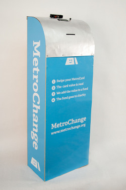 MetroChange kiosks are an invention from NYU ITP students looking to fix a real problem: what do customer do with the small amount of unused value on their metro card? They swipe their card at the MetroChange kiosk. The value from their MetroCard is recorded by the kiosk and transmitted to a central fund that is then donated to a charity. Value that would otherwise have been lost is now quantified and can be put to good use. The customer's physical MetroCard is taken for recycling.